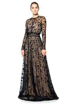 Starfish Embroidered Tulle Long Sleeve Gown $748
