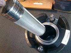 "Stainless Steel 2 5/8"" x 11 1/2"" 300 Micron Corney Keg Dry Hopper for beer brewing in Corney Kegs"