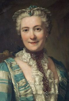 Detail from a portrait of a noblewoman by Donat Nonotte, 1760 Wired cap