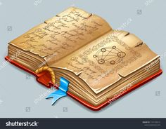 Isometric book of magic spells and witchcraft for computer game. Fairy tale icon in cartoon style. Crop Protection, Banner, Applique Templates, Magic Spells, Gaming Computer, Cartoon Styles, Witchcraft, Spelling, Create Yourself