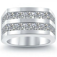 4.50 Carat Natural Diamond Mens Wedding Band Ring 14k White Gold Men Ring - Wedding Bands - Wedding Bands - Lioridiamonds.com