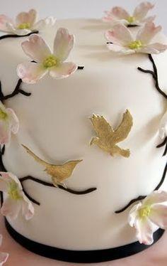 dogwood / clematis and hummingbird mini cake