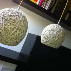 lamp made of rope/wool, a balloon, glue (for wallpaper), and coloured (irioning) cord