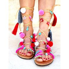 POM POM Sandals, Pom Pom, Leather Sandals, Gladiator sandals, Greek... (2 580 ZAR) ❤ liked on Polyvore featuring shoes, sandals, summer sandals, colorful sandals, greek sandals, beaded gladiator sandals and multi colored gladiator sandals