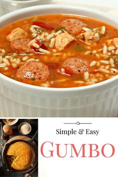 This has quickly become a family favorite: my simple and easy gumbo paired with homemade cornbread! My Louisiana-bred husband didn't even know I took shortcuts to re-create his favorite home-cooked meal. Definitely a scrumptious winner! Cajun Recipes, Seafood Recipes, Vegetarian Recipes, Cooking Recipes, Healthy Recipes, Gumbo Recipes, Chili Recipes, Rice Recipes, Healthy Foods