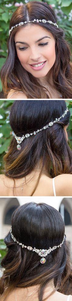 Silver Headpiece, Silver Bridal Headpiece, Silver Prom Headpiece, Silver Crystal Headpiece, Silver Wedding Headpiece, Crystal Headpiece