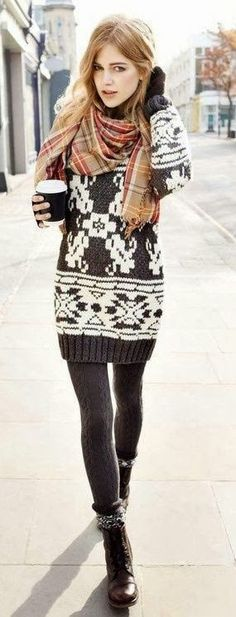 Stunning Sweater, Tights, Shoes and Lovely Scarf Style. Cozy Look.