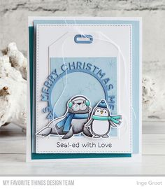 Polar Pals stamp set and Die-namics, A2 Stitched STAX Die-namics, Cross-Stitch Tag, Merry Christmas Circle Frame Die-namics — Inge Groot #mftstamps