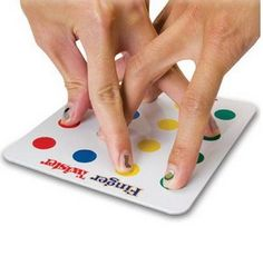 Finger Twister Game :) You could easily make yor own and laminate. I have seen great ideas for using Twister in math. This could work with those games. It is also perfect for indoor recess. Twister Game, Finger Games, Finger Fun, Activities For Kids, Crafts For Kids, Cool Crafts, Road Trip Activities, Articulation Activities, Sensory Activities