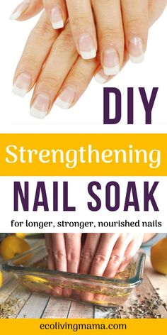 Herbal DIY Nail Soak Recipe for Healthy, Strong Nails This easy at home nail soak is the perfect first step for your DIY manicure, and will help your nails grow longer fast! You can use herbs or essential oils and it works to repair dry, damaged or Diy Nails Soak, Nail Soak, Dry Nails, Biotin For Hair Loss, Oil For Hair Loss, Hair Loss Shampoo, Ongles Forts, Uñas Diy, Damaged Nails