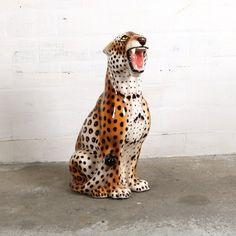 Panther in glazed ceramics. Leopards, Beautiful Space, Vintage Ceramic, Vintage Designs, Giraffe, 1970s, Ceramics, Animals, Entryway
