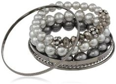 Simulated Tonal Grey Pearl and Crystal 7-Piece Bracelet Set