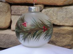 Hand Painted Glass Christmas Ornament with Green door NaturesPetals