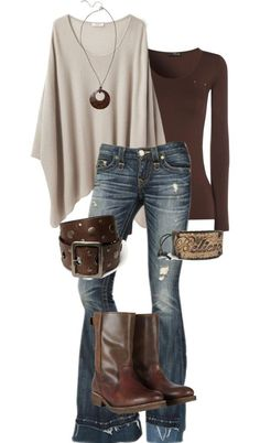 I just love the shape and combinations here - fitted tee with drapey sweater and leather accents.