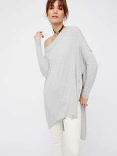 Grapevine Tunic | So soft and stretchy tunic with a femme off-the-shoulder silhouette and a dramatic side vent. Easy, effortless fit.