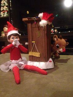 Elf on the Shelf - Sparkle vs the outhouse!