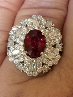 18K Gold 5 05 Ct Unheated GIA Certified No Heat vs Vivid Red Ruby Diamond Ring