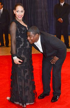 Tracy Morgan with Fiancee Megan Wollover on the red carpet at the White House Correspondents' Dinner