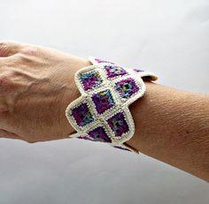 Handmade Fine Thread Fiber Art Miniature Granny Square Cuff Bracelet Blueberry and Cream Crochet Quilt, Crochet Cross, Thread Crochet, Love Crochet, Crochet Granny, Crochet Motif, Crochet Yarn, Embroidery Thread, Crochet Wrist Warmers