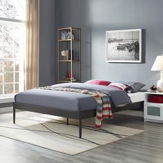 Elsie Queen Bed Frame In Brown Mocofu Full King