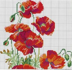 "Poppies ""V"" 1 of 2 Cross Stitch Kits, Cross Stitch Charts, Cross Stitch Patterns, Quilt Stitching, Cross Stitching, Ribbon Embroidery, Cross Stitch Embroidery, Flower Chart, Cross Stitch Pictures"