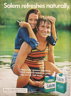 I always like to smoke when I'm swimming! Vintage Advertisements, Vintage Ads, Famous Ads, Vintage Cigarette Ads, Virginia Slims, Mustache Men, British Soldier, Pin Up, Old Ads