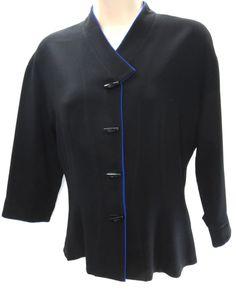 Vintage AGI Brooks Petite Black Crepe Acrylic Blue Trim V-Neck 3/4 Sleeve Jacket #AGIBrooks #BasicJacket #Business