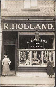 R Holland Butchers, Wallsend, Newcastle Upon On Tyne, c. 1910