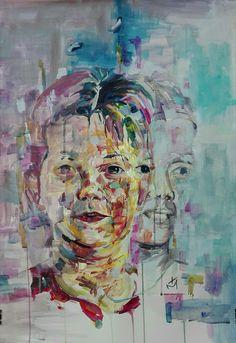 """Nicol"" acrylic portrait on paper by tasos bousdoukos"