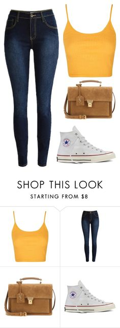 """Untitled #110"" by crissgab12 on Polyvore featuring Topshop, Yves Saint Laurent and Converse"