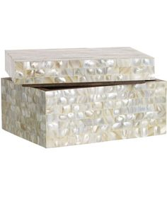Made with mother of pearl tiles, this box will add some shine to your bookshelf, dresser, or tabletop. Get it here: http://www.bhg.com/shop/west-elm-mother-of-pearl-box-large-p504dec6582a7e3b7aaeaf82e.html