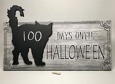 Count down the days to Zombolina's favorite time of the year! A delightfully distressed finish adorns this x x carved hard board sign. Applied chalkboard cat shape and chalk holder. Indoor use recommended. Halloween Chalkboard, Halloween Countdown, Chalk Holder, Inspiration Wall, Christmas Pictures, Flower Wall, More Fun, Cats, Cat Cat