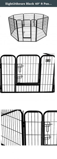 "Eight24hours Black 40"" 8 Panel Heavy Duty Pet Playpen Dog Exercise Pen Cat Fence. Product Description :: This is a brand new heavy duty pet playpen. It is extremely durable and water/stain resistant. You can connect multiple playpens together and set up as a rectangle or octagon. Suitable for a variety of pet indoor or outdoor use. Features :: Brand New Easy to set up and no tools required Eight Panels (40"" Width x 31"" Height each panel) One Doors with lock Strongest heavy duty dog fence…"