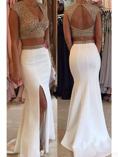 Two Pieces Beading Bodice Open Back Long Split Prom Dresses Evening Dresses