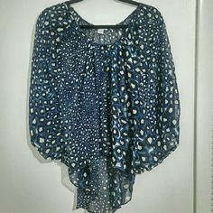 Poncho style blouse Spotted blue and cream poncho style top. Like new. Tops