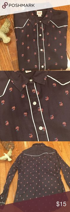 Western  button down I'm selling a black lightweight button down. Trimmed in white with red flowers and blue leaves. Looks great with anything denim and of course cowboy boots  Tops Button Down Shirts