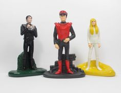 Captain Scarlet X 3 Toy Figures - Destiny Black Scarlet - Cake Toppers (1)