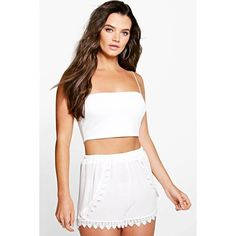 Boohoo Erin Crochet Trim Runner Short ($20) ❤ liked on Polyvore featuring shorts, ivory, hot short shorts, mini shorts, micro short shorts, party shorts and culottes shorts