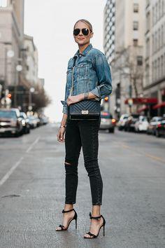 Blonde Woman Wearing Joes Jeans Black Ripped Skinny Jeans Denim Jacket Chanel Black Boy Bag Alexandre Birman Black Bow Heels Celine Aviator Sunglasses Fashion Jackson Dallas Blogger Fashion Blogger Street Style