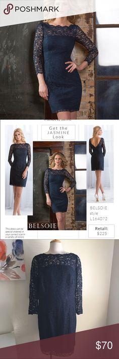Lace dress Gorgeous dress! It's a dark blue color. Fully lined with lace overlay. The sleeves are about elbow length. Scalloped neckline. It has a deep v back. It's marked as US 22. But fits 16/18 better. New with tags. Belsoie Dresses