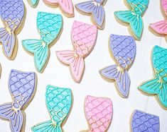 Mermaid Tail Sugar Rolled Decorated Cookies (gold/silver accent)