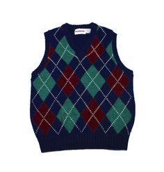 Vintage 1980s McGregor Navy Blue Argyle Wool Blend Golf Sweater Vest Mens Size Small