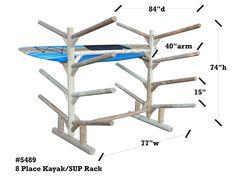 8 Place Kayak Rack | Kayak Storage Rack | Log Kayak Racks
