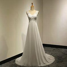 A-line Petite / Plus Sizes Wedding Dress - White Sweep/Brush Train V-neck Chiffon / Lace – USD $ 89.99