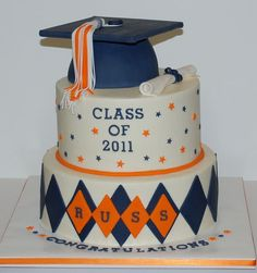Two tier round white graduation cake with graduation cap and diplomma.JPG