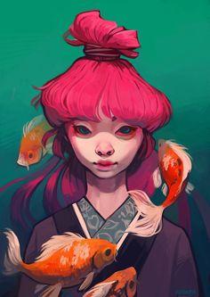 pink koi on Behance Character Design Animation, Character Drawing, Art Sketches, Art Drawings, Illustration Pop Art, Arte Grunge, Drawn Art, Cg Art, Cartoon Art Styles