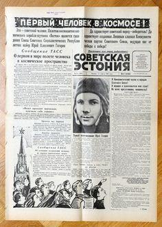 1961 , April 13  - USSR RUSSIA - YURI GAGARIN FIRST HUMAN SPACE FLIGHT  - NEWSPAPER FIRST ANNOUNCEMENT. Genuine Vintage  SOVIET ESTONIA - Communist Propaganda Newspaper - April 13, 1961 - YURI GAGARIN FLIGHT The newspaper is fully devoted to the flight.