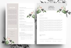 Resume Template in PSD and Word file by Emily's ART Boutique on @creativemarket