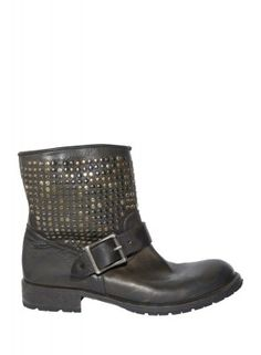HTC  BOOT OLIVE GREEN  flat ankle boots with studs and buckle detail. Perfect for a glam rock look.