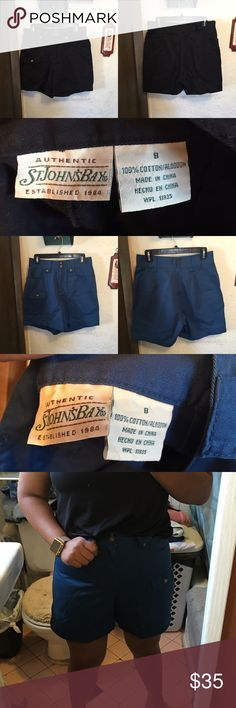 St. John's Bay Shorts Bundle Great used condition. The black have been worn twice but the blue are brand new without tags. Very high waisted. St. John's Bay Shorts Cargos